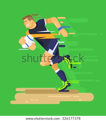 Rugby player. Vector flat illustration - stock vector