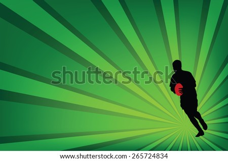 rugby player with background - vector - stock vector