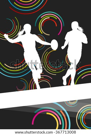 Rugby players young active women healthy sport silhouettes vector background illustration - stock vector