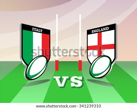 Rugby Six Nations championship 2016, Italy vs England match - stock vector