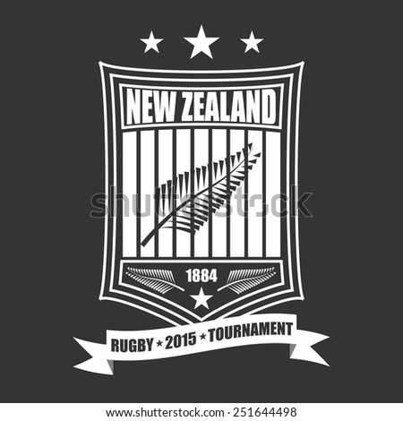 Rugby tournament emblem in the New Zealand, sport club logo - stock vector