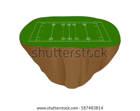 Rugby Union Field Floating Island - stock vector