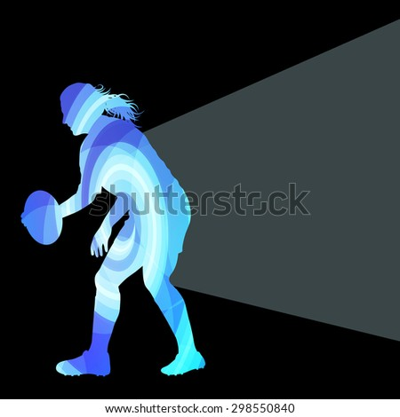 Rugby woman player silhouette vector background colorful concept made of transparent curved shapes - stock vector