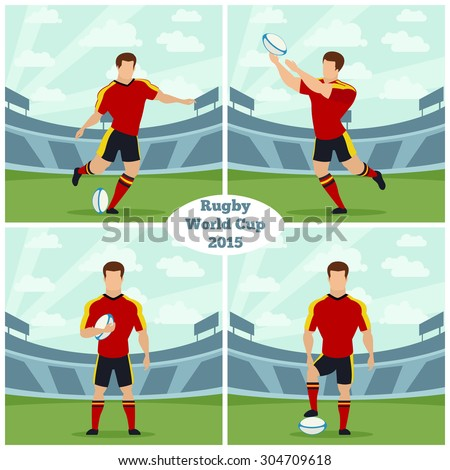 Rugby World Cup 2015 vector concept. Stadium competition, player portrait, play game sport illustration - stock vector