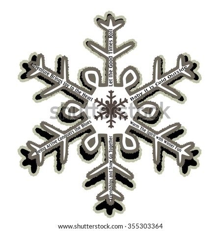 Rugged Snowflake with Winter messages use with or without  - stock vector