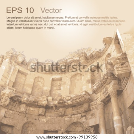 Ruins of Ancient City of Gerasa in Jerash, Jordan. Ancient architecture. Vector clip-art, isolated on neutral background. - stock vector