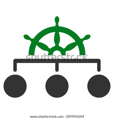 Rule icon from Business Bi-color Set. Vector style: bi-color flat symbol, green and gray colors, rounded angles, white background. - stock vector