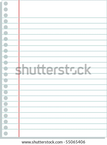 ruled paper blank template - stock vector