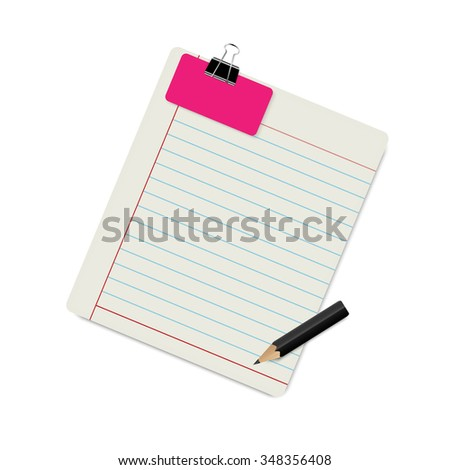 Ruled paper note with clipped color card background vector design - stock vector