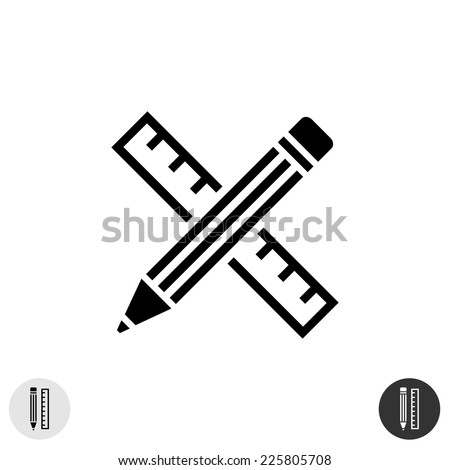 Ruler and pencil icon. Monochrome constant wide lines design. - stock vector