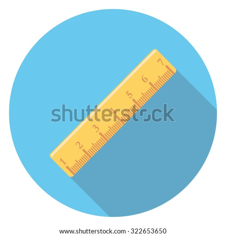 ruler flat icon in circle - stock vector