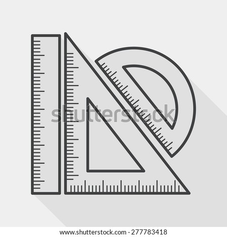 Ruler flat icon with long shadow, line icon - stock vector