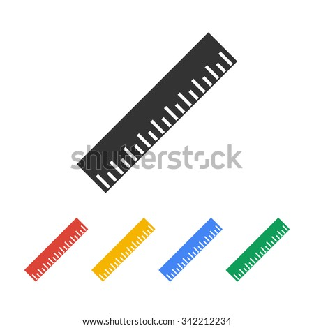 Ruler Icon. Flat design style. EPS 10 - stock vector