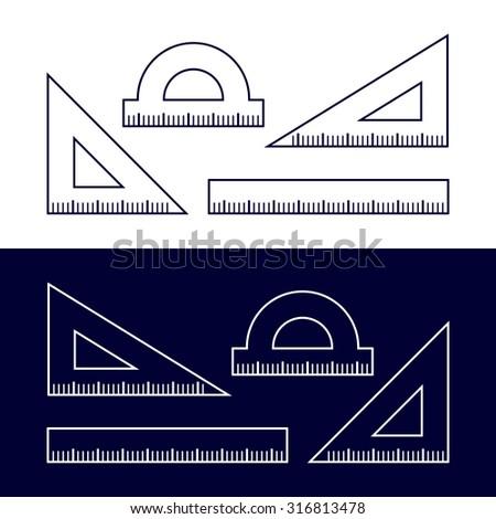 Ruler icon, line icon. Vector illustration - stock vector