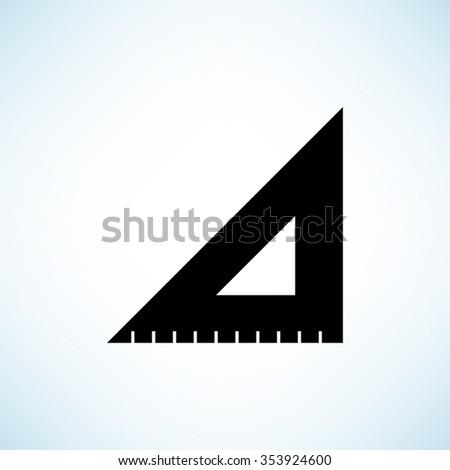 ruler instruments -  black vector icon - stock vector