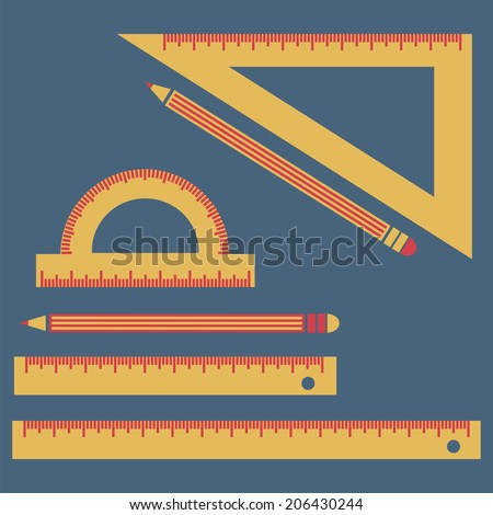 Rulers and pencils, vector, flat icon (from set Back to school) - stock vector