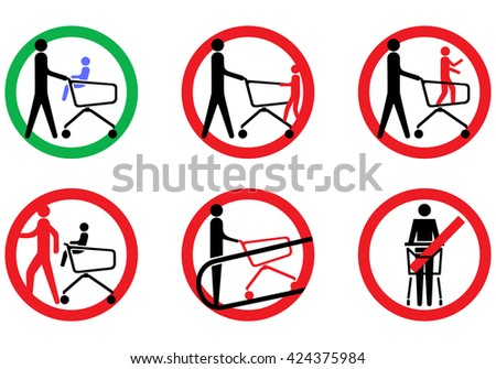 Rules shopping baskets to store pictures in the visitors  - stock vector
