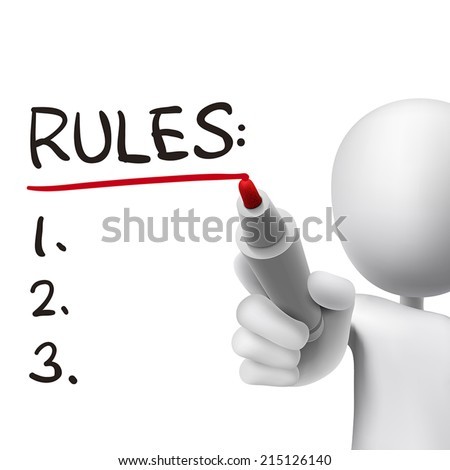 rules word written by 3d man over white  - stock vector