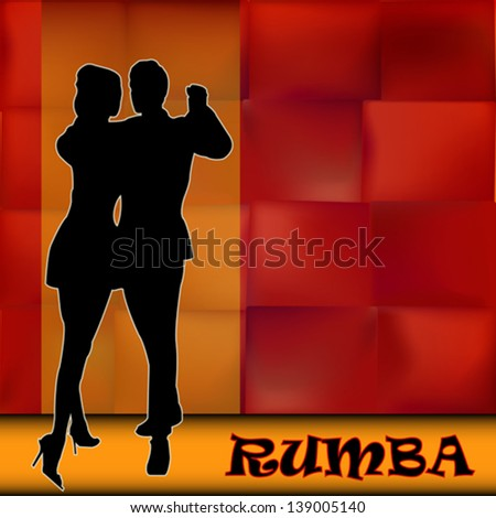 Rumba,Vector Background illustration with a couple of dancers carrying out a Latin American Ballroom Dance - stock vector