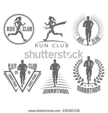 Run club labels and emblems - stock vector