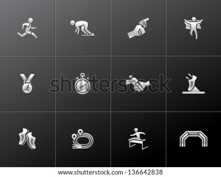 Run competition icon series  in metallic style - stock vector