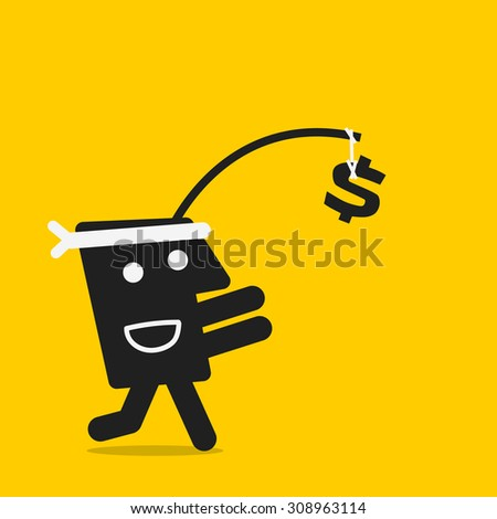 run for money - stock vector
