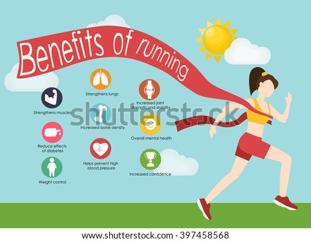 Run infographics. Minimal cool vector illustration for print or web. Fitness concept with young adult woman running. Sport fitness female character running - stock vector