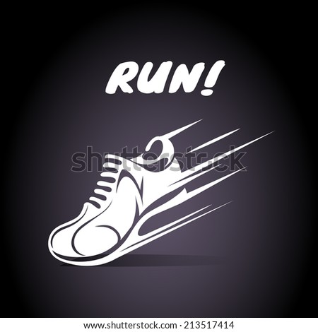 Run poster design with a speeding trainer  running shoe or sneaker with motion lines below the text - Run - in a motivational vector poster template in square format - stock vector