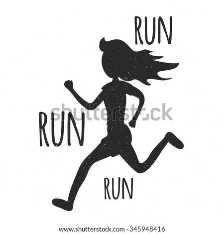 run run run vintage typographic poster stock vector