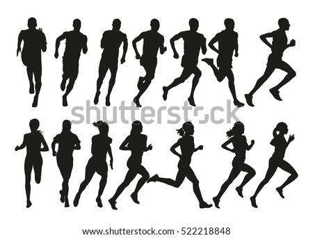 Run. Set of silhouettes of running men and women. Active people