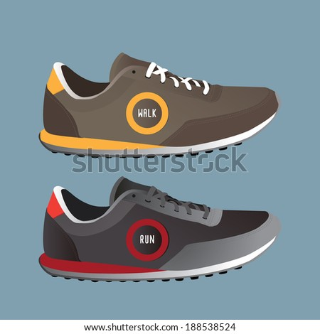 run shoes / boot / shoe / man / woman / healthy / sport vector - stock vector