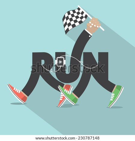Run With Legs Typography Design Vector Illustration - stock vector