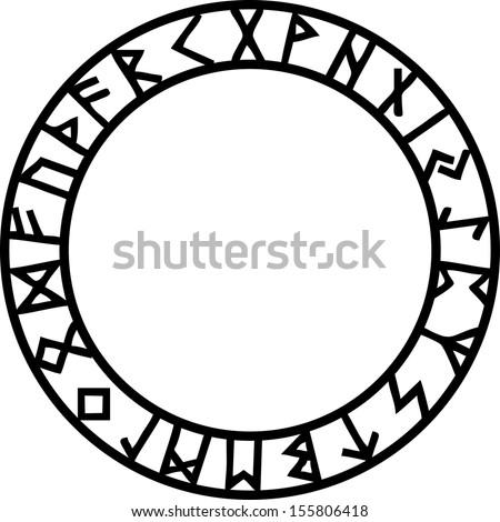 Rune Circle, Futhark - stock vector