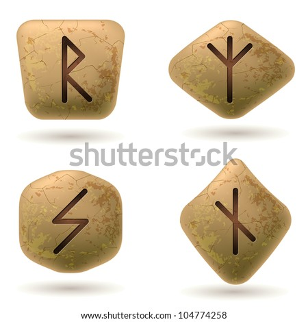 Runes Engraved on Stone. Set number five on white - stock vector