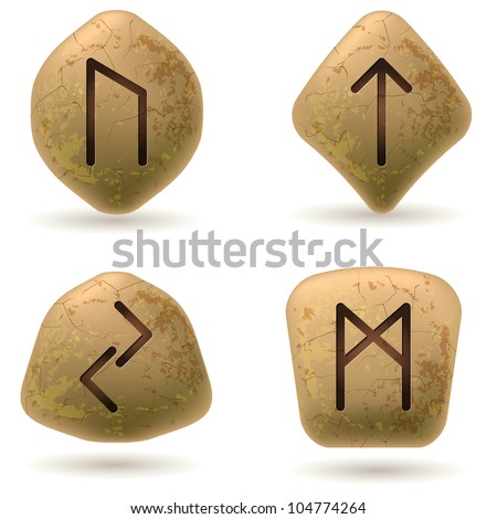 Runes Engraved on Stone. Set number four on white