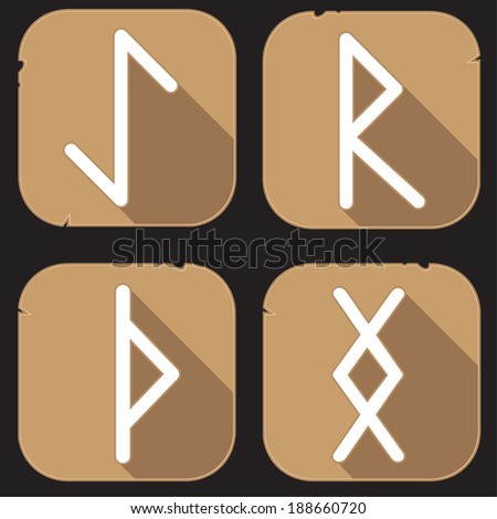 Runes Engraved on Stone. Set number two on white - stock vector