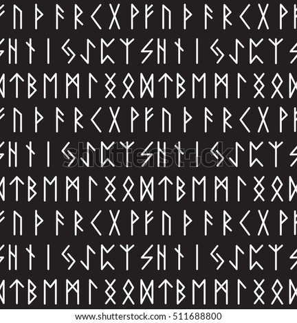 Runes Seamless Pattern Runic Alphabet Wallpaper Writing Ancient Background Old Gothic Texture