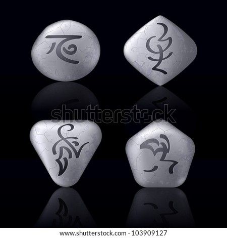 Runic Stones with Magical Spells. Set number Two on black