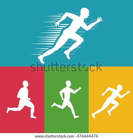 runner athlete man male running training fitness healthy lifestyle sport marathon icon. Colorful and flat design. Vector illustration