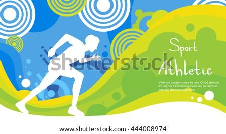 Runner Athlete Sprint Sport Game Competition Flat Vector Illustration - stock vector