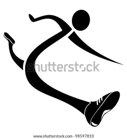 Runner icon. Stylized sketch vector illustration - stock vector