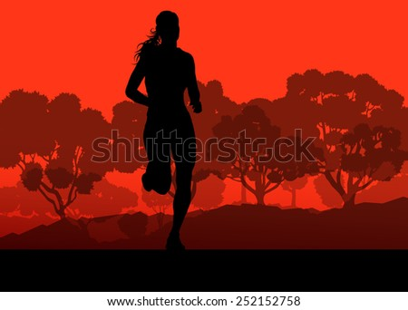 Runner in forest landscape vector background concept - stock vector