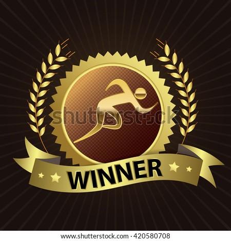 Runner / Jogger / Sprinter  - Winner Golden Laurel Seal with Golden Ribbon - Layered EPS 10 Vector - stock vector