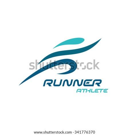 Runner logo. Fast simple stylized athlete figure. - stock vector