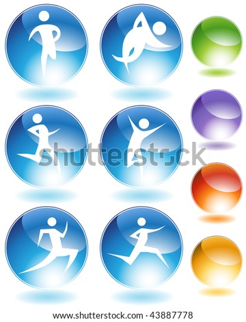 Runner stick crystal set isolated on a white background. - stock vector
