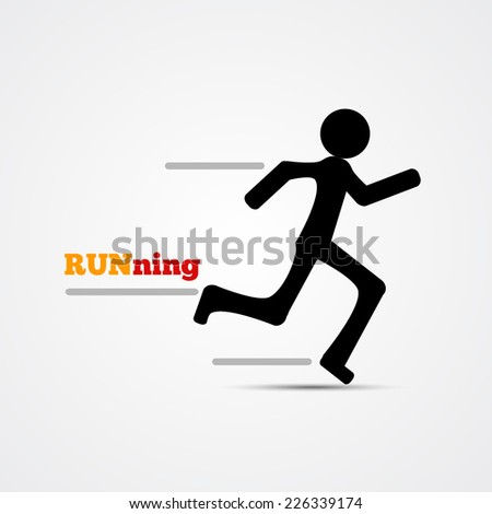 Runner stick figure icon. Vector illustration. - stock vector