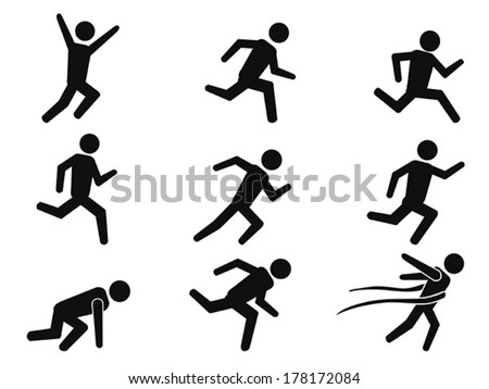 runner stick figure icons set - stock vector