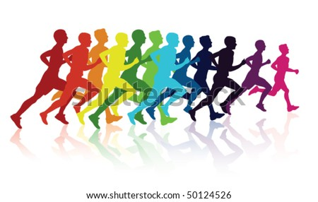 Runners - stock vector