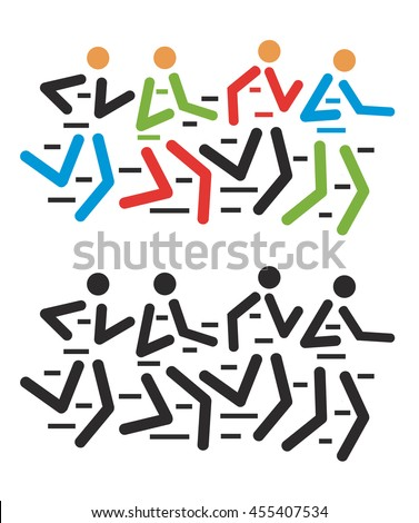 Runners race. Group of runners racing . Colorful stylized illustration. Vector available.  - stock vector