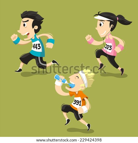 Runners Running Runner Training Jogging, vector illustration cartoon. - stock vector